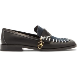 JW Anderson - Topstitched Leather And Suede Loafers - Womens - Black Navy found on MODAPINS from MATCHESFASHION.COM - AU for USD $582.36