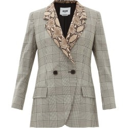 MSGM - Double-breasted Snake-collar Wool Jacket - Womens - Black White found on Bargain Bro UK from Matches UK