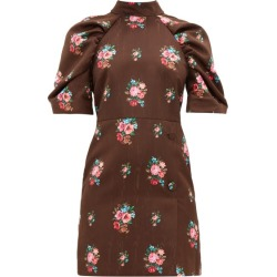 MSGM - Open-back Floral-jacquard Dress - Womens - Brown Multi found on Bargain Bro UK from Matches UK