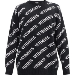 Vetements - Logo-jacquard Cotton-blend Sweater - Mens - Black found on MODAPINS from Matches Global for USD $890.00