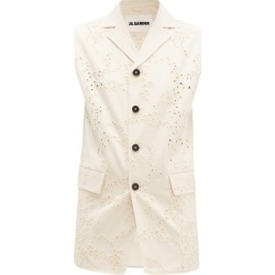 Jil Sander - Broderie-anglaise Cotton Sleeveless Jacket - Womens - Beige found on MODAPINS from Matches Global for USD $507.00