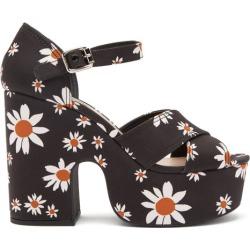 Miu Miu - Daisy-print Micro-faille Platform Sandals - Womens - Black found on Bargain Bro UK from Matches UK