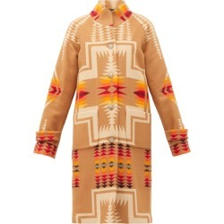 Pendleton - Harding Geometric-intarsia Wool-blend Coat - Womens - Beige Multi