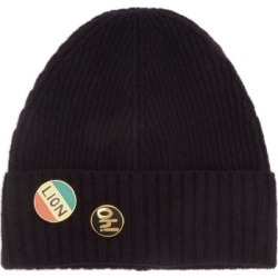 Bella Freud - Pin-embellished Wool Beanie Hat - Womens - Navy found on MODAPINS from MATCHESFASHION.COM - AU for USD $87.16