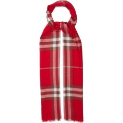 Burberry - Giant Check Wool-blend Woven Scarf - Womens - Red Print found on Bargain Bro India from Matches Global for $420.00