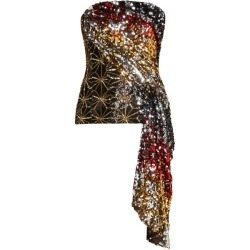 Halpern - Sequinned Asymmetric-draped Bustier Top - Womens - Gold Multi found on MODAPINS from MATCHESFASHION.COM - AU for USD $1219.53