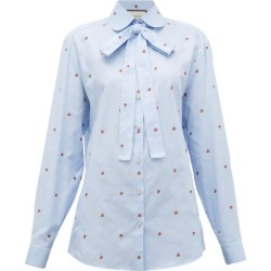 Gucci - Strawberry Fil-coupé Cotton-oxford Shirt - Womens - Blue Multi found on Bargain Bro Philippines from Matches Global for $980.00