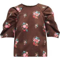 MSGM - Floral-jacquard Gathered-sleeve Blouse - Womens - Brown Multi found on Bargain Bro UK from Matches UK