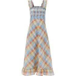 Ganni - Checked Seersucker Midi Dress - Womens - Multi found on MODAPINS from Matches Global for USD $285.00