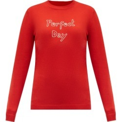 Bella Freud - Perfect Day Embroidered Merino-wool Sweater - Womens - Red found on MODAPINS from MATCHESFASHION.COM - AU for USD $344.02