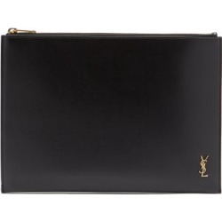 Saint Laurent - Ysl-plaque Leather Pouch - Mens - Black found on Bargain Bro UK from Matches UK