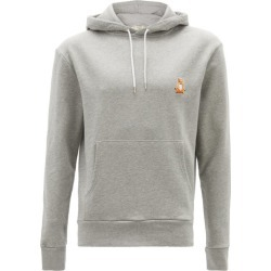 Maison Kitsuné - Lotus Fox-patch Cotton-jersey Hooded Sweatshirt - Mens - Grey found on Bargain Bro from Matches UK for £166