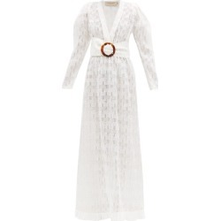 Adriana Degreas - Belted Silk-blend Fil Coupé Maxi Dress - Womens - White found on Bargain Bro UK from Matches UK