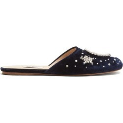 Attico - Crystal Embellished Velvet Backless Loafers - Womens - Navy found on MODAPINS from MATCHESFASHION.COM - AU for USD $844.81