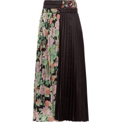 Junya Watanabe - Floral-print Crepe And Satin Pleated Skirt - Womens - Black Multi found on MODAPINS from MATCHESFASHION.COM - AU for USD $427.04