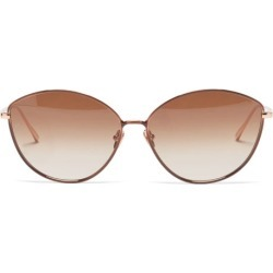 Linda Farrow - Francis Cat-eye 22kt Gold-plated Metal Sunglasses - Womens - Brown found on MODAPINS from Matches Global for USD $723.00