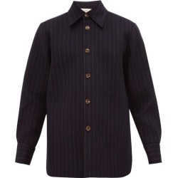 Séfr - Mats Striped Felt Overshirt - Mens - Navy found on Bargain Bro India from MATCHESFASHION.COM - AU for $128.59