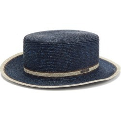 Fendi - Striped Straw Boater Hat - Womens - Navy found on Bargain Bro Philippines from Matches Global for $750.00