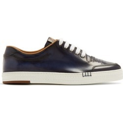 Berluti - Playtime Palermo Leather Low Top Trainers - Mens - Navy found on MODAPINS from MATCHESFASHION.COM - AU for USD $1270.68
