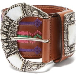 Etro - Mother-of-pearl Inlay Embroidered-leather Belt - Womens - Tan Multi found on Bargain Bro UK from Matches UK