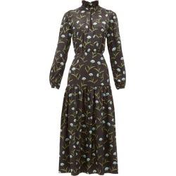 Borgo De Nor - Eugenia Floral-print Satin-jacquard Midi Dress - Womens - Black Blue found on Bargain Bro Philippines from MATCHESFASHION.COM - AU for $808.09