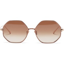 Linda Farrow - Leif Oversized Angular 22kt Gold-plated Sunglasses - Womens - Brown found on MODAPINS from Matches UK for USD $944.26