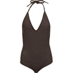 Bottega Veneta - Halterneck Open-knit Cotton-blend Bodysuit - Womens - Dark Brown found on Bargain Bro UK from Matches UK