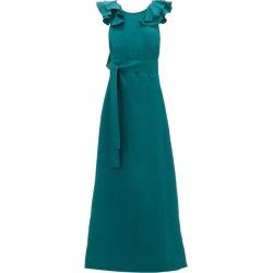 Kalita - Eros Shoulder-ruffle Linen Maxidress - Womens - Dark Green found on MODAPINS from Matches UK for USD $365.27