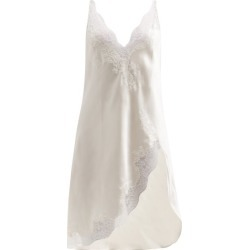 Carine Gilson - Side-slit Leavers Lace-trimmed Silk Nightdress - Womens - Ivory found on MODAPINS from Matches UK for USD $1115.05