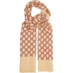 Gucci - GG Linen-blend Gauze Scarf - Womens - Burgundy found on Bargain Bro Philippines from Matches Global for $490.00
