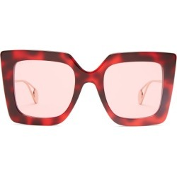 Gucci - Oversized Square Acetate Sunglasses - Womens - Red