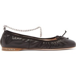 Miu Miu - Crystal-anklet Leather Ballet Flats - Womens - Black found on Bargain Bro UK from Matches UK