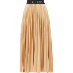 Givenchy - Logo-waist Pleated-faille Midi Skirt - Womens - Beige found on Bargain Bro Philippines from MATCHESFASHION.COM - AU for $1572.34