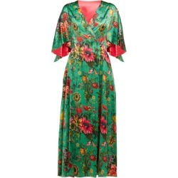 Adriana Iglesias - Floral Print Flared Sleeve Silk Blend Dress - Womens - Green Multi found on MODAPINS from Matches UK for USD $1140.41