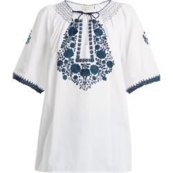 Muzungu Sisters - Eva Embroidered Cotton Top - Womens - White Navy found on Bargain Bro UK from Matches UK