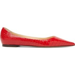 Jimmy Choo - Love Flat Crocodile-effect Leather Ballet Flats - Womens - Red found on Bargain Bro UK from Matches UK