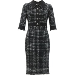 Dolce & Gabbana - Plaque-button Tailored Tweed Midi Dress - Womens - Black White found on Bargain Bro UK from Matches UK