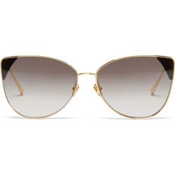 Linda Farrow - Ida Cat-eye 18kt Gold-plated Sunglasses - Womens - Grey Gold found on MODAPINS from Matches UK for USD $975.36