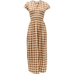 Ganni - Shirred Gingham Silk-blend Crepe Dress - Womens - Brown Multi found on MODAPINS from Matches Global for USD $595.00