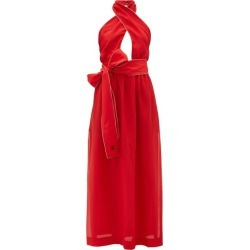 Fendi - Crossover Halterneck Silk Maxi Dress - Womens - Red found on Bargain Bro Philippines from Matches Global for $1790.00