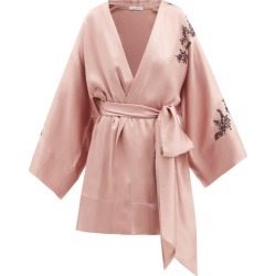 Carine Gilson - Lace-trimmed Cropped Silk-satin Robe - Womens - Light Brown found on MODAPINS from Matches UK for USD $1956.47