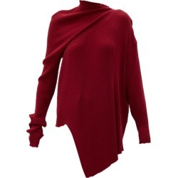 Marques'almeida - Asymmetric Draped Ribbed Wool Sweater - Womens - Burgundy found on MODAPINS from Matches Global for USD $237.00