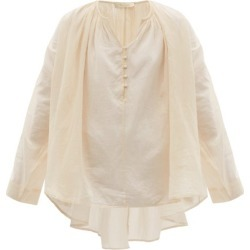 Mes Demoiselles - Esmerelda Gathered V-neck Cotton Blouse - Womens - Light Pink found on MODAPINS from MATCHESFASHION.COM - AU for USD $211.20