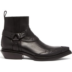 Balenciaga - Santiag Harness Leather Western Boots - Mens - Black