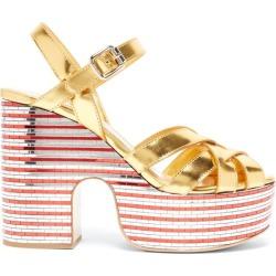 Miu Miu - Mirrored-platform Metallic-leather Sandals - Womens - Gold found on Bargain Bro UK from Matches UK