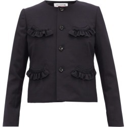 Comme Des Garçons Girl - Ruffled Wool-twill Cardigan - Womens - Navy found on MODAPINS from Matches Global for USD $495.00