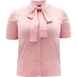 Dolce & Gabbana - Pussy-bow Silk Cardigan - Womens - Light Pink found on Bargain Bro UK from Matches UK