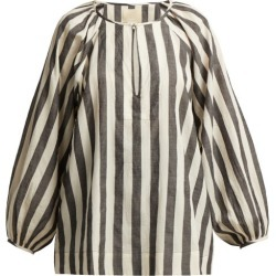 Anaak - Striped Keyhole-yoke Cotton Blouse - Womens - Grey White found on MODAPINS from MATCHESFASHION.COM - AU for USD $78.46