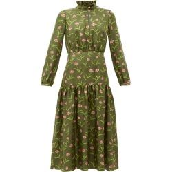 Borgo De Nor - Eugenia Carnation-print Silk Midi Dress - Womens - Khaki Multi found on Bargain Bro Philippines from MATCHESFASHION.COM - AU for $808.09