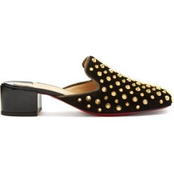 Christian Louboutin - Mulaconka 35 Gold-spike Suede Mules - Womens - Black Gold found on Bargain Bro UK from Matches UK